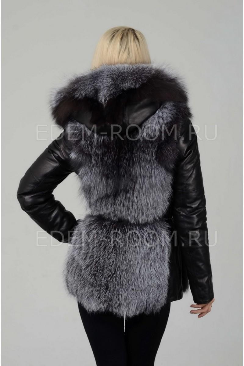 Женская куртка-жилетка из меха чернобурки