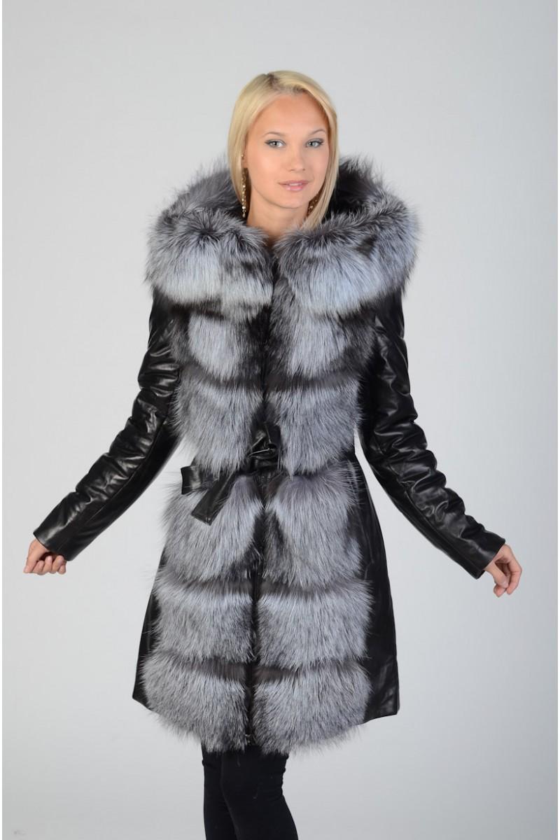 Кожаное пальто - трансформер  с чернобуркой.