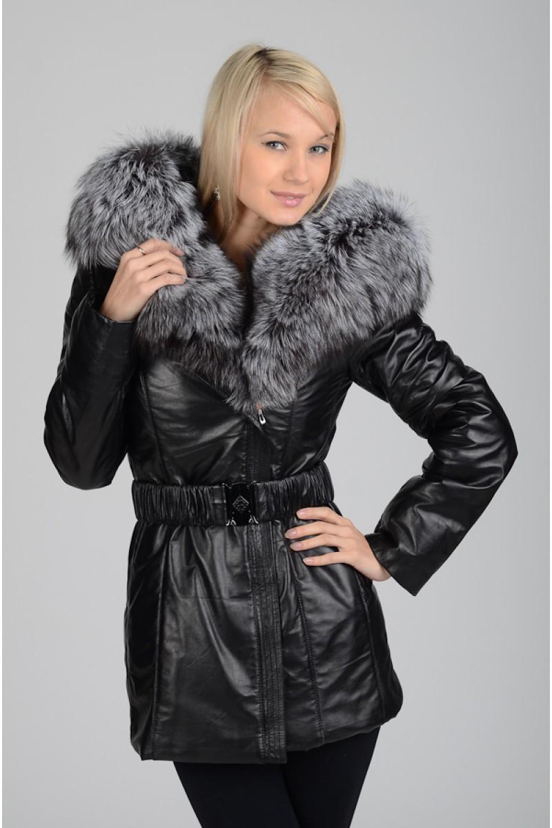Зимняя кожаная куртка с мехом чернобурки