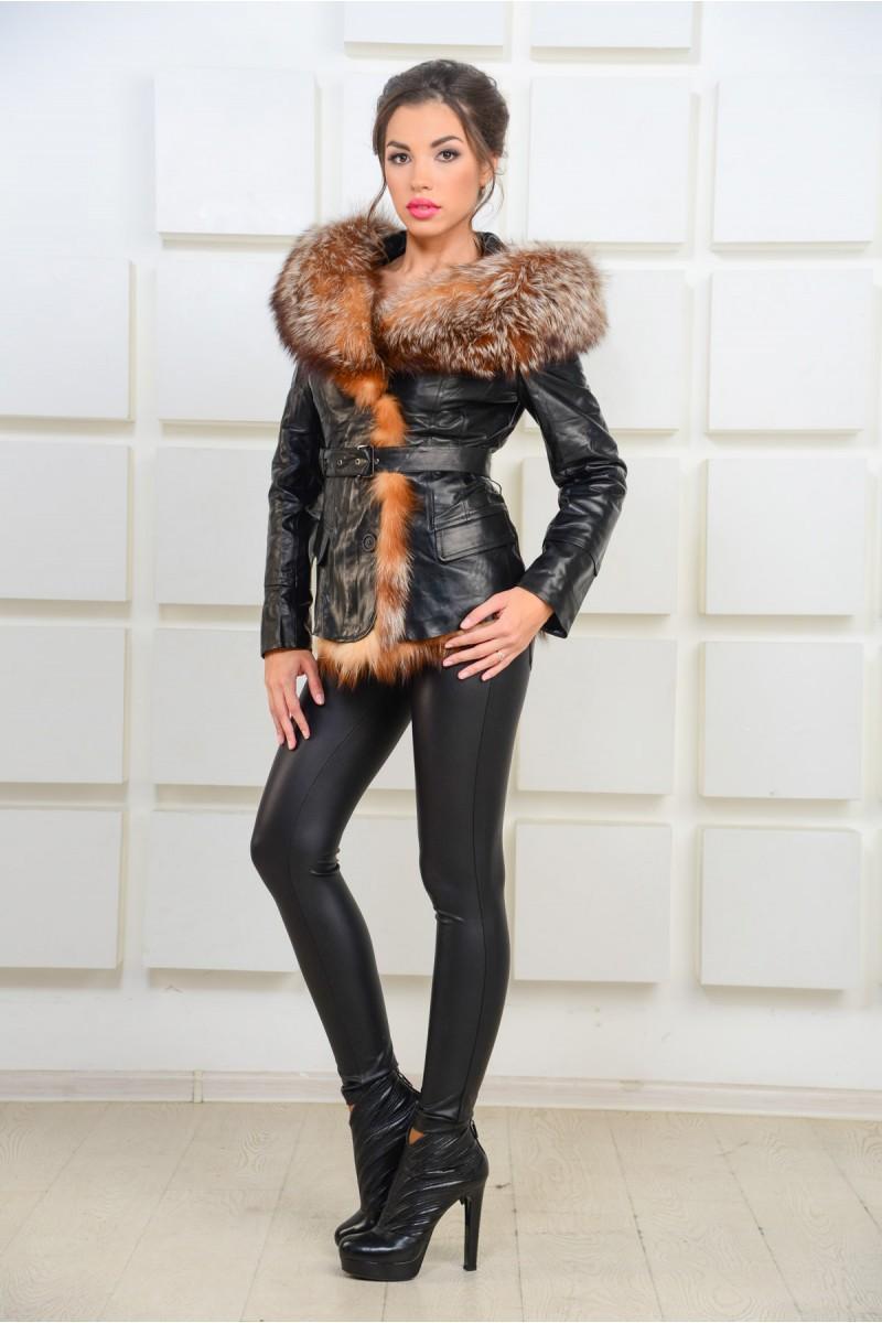 Утеплённая кожаная куртка с мехом
