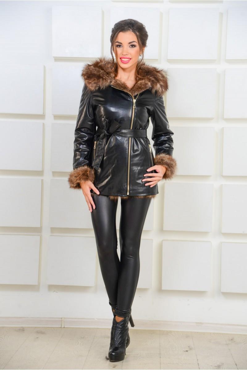 Кожаная куртка дублёнка  с мехом  лисы