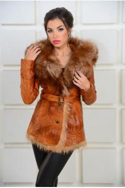 Зимняя  кожаная куртка с мехом лисы
