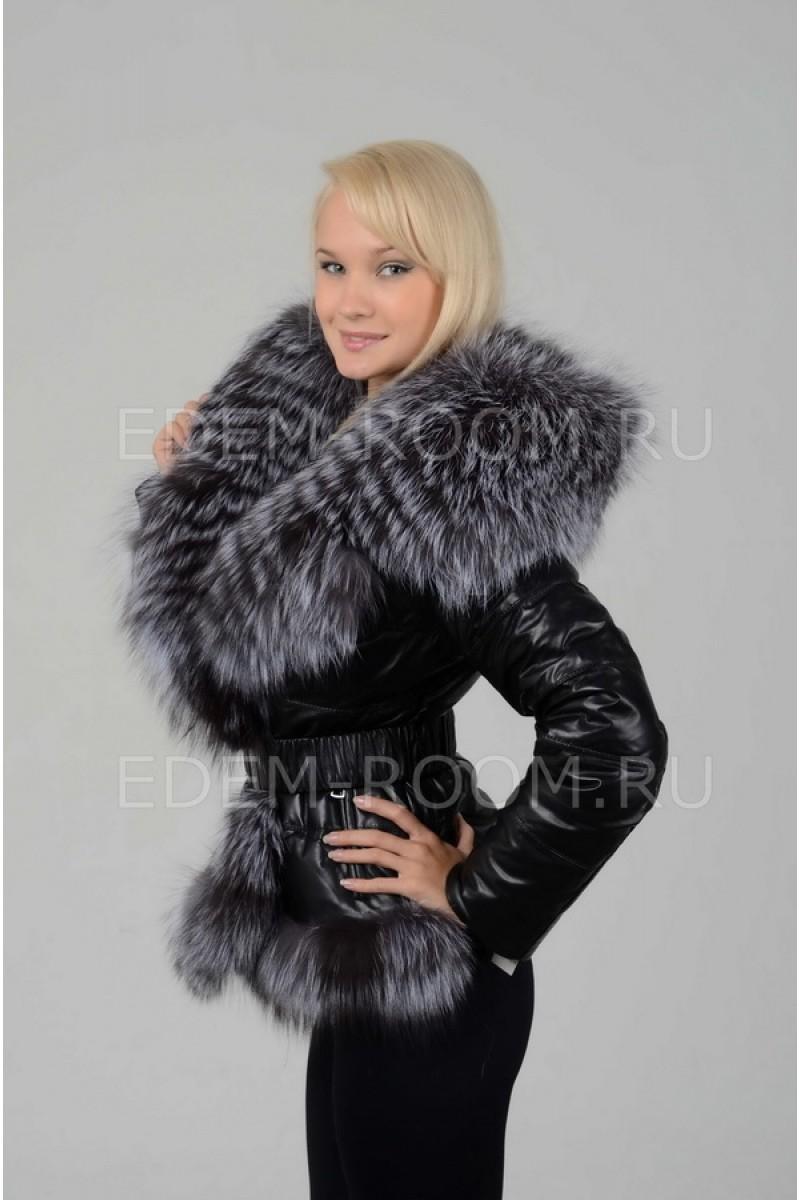 Женская кожаная куртка-жилетка из меха чернобурки