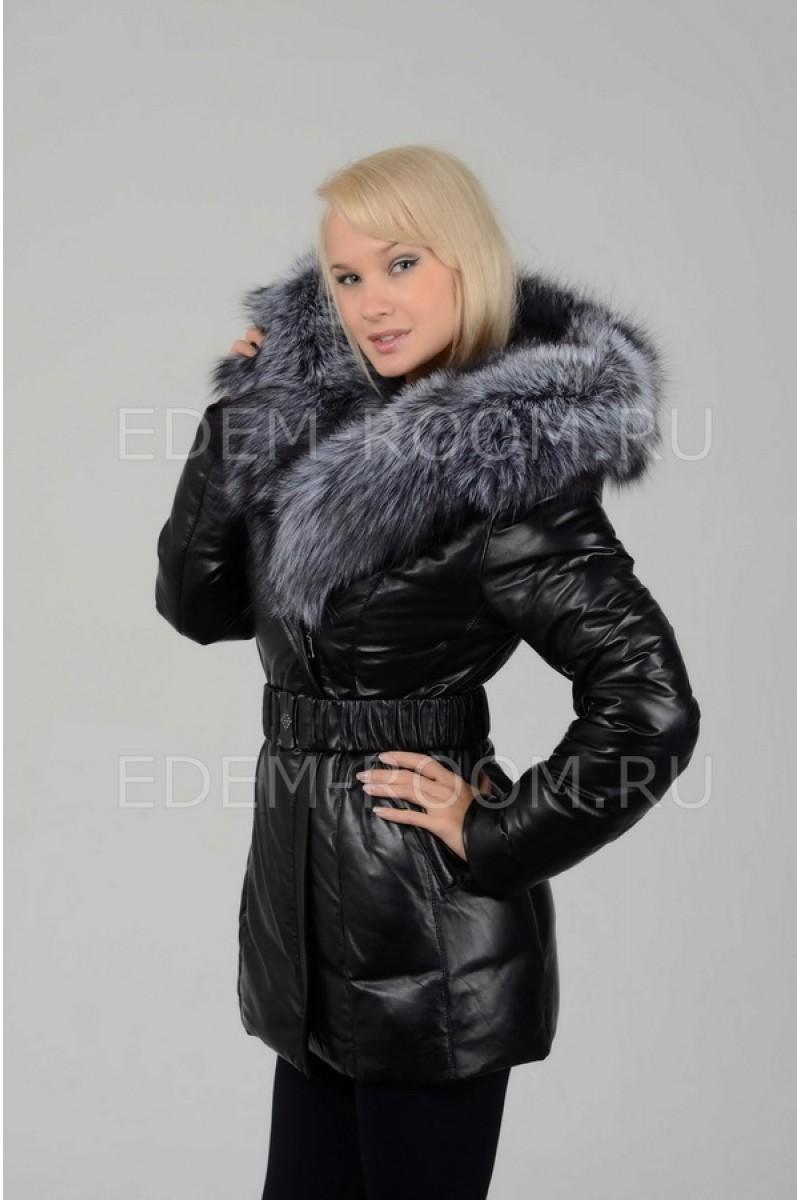 Зимний кожаный пуховик с мехом чернобурки