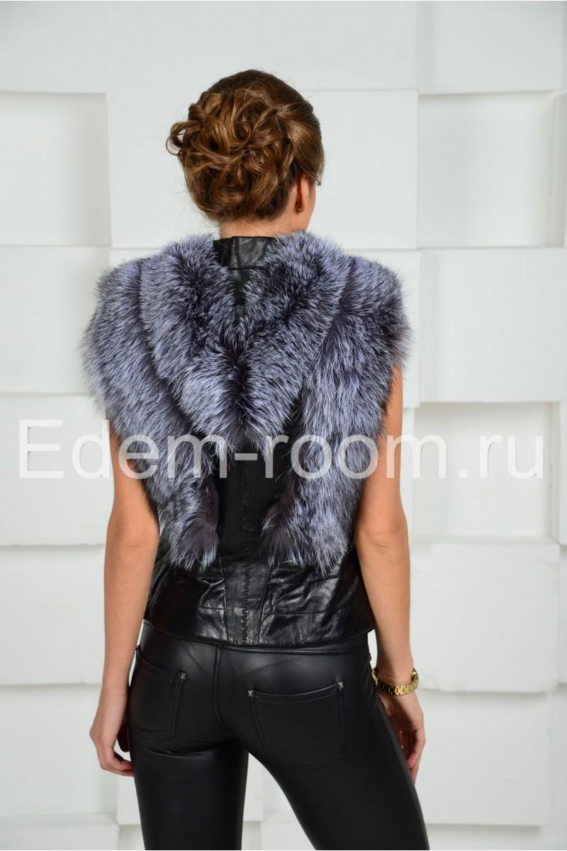 Кожаная жилетка комбинированная чернобуркой