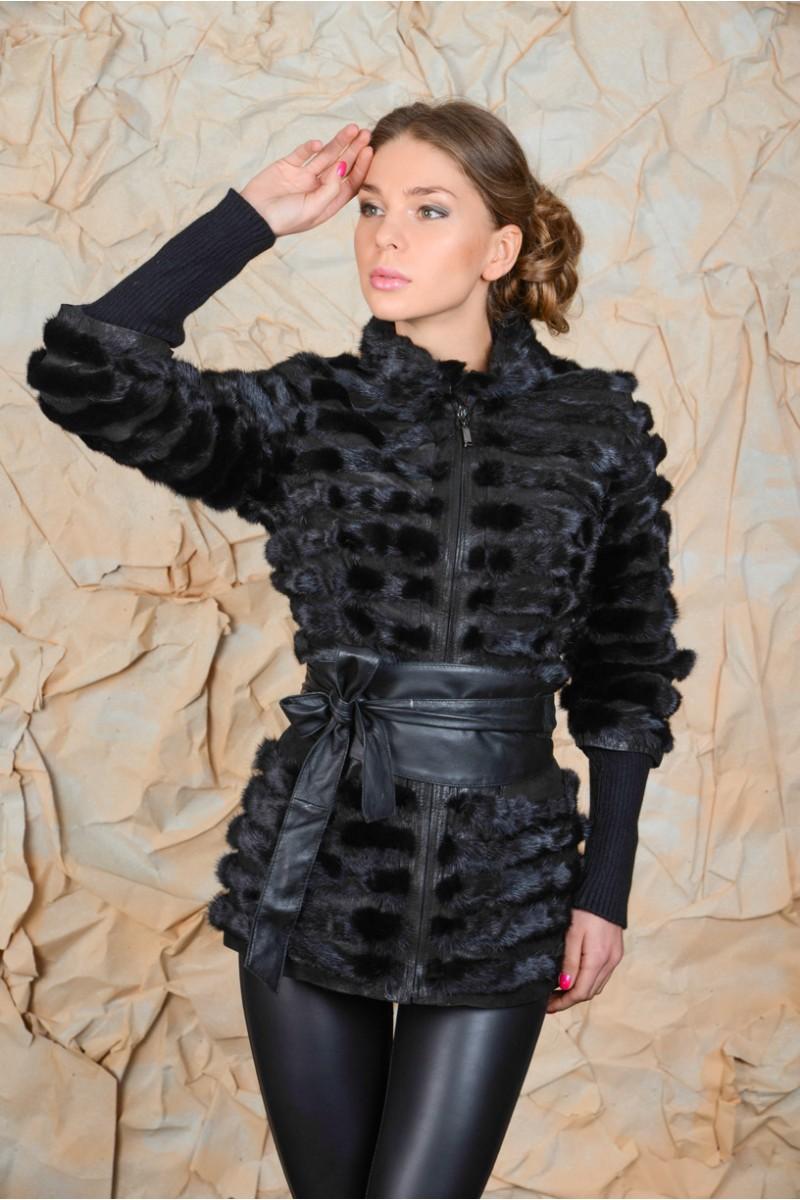 Норковая куртка со съёмными рукавами