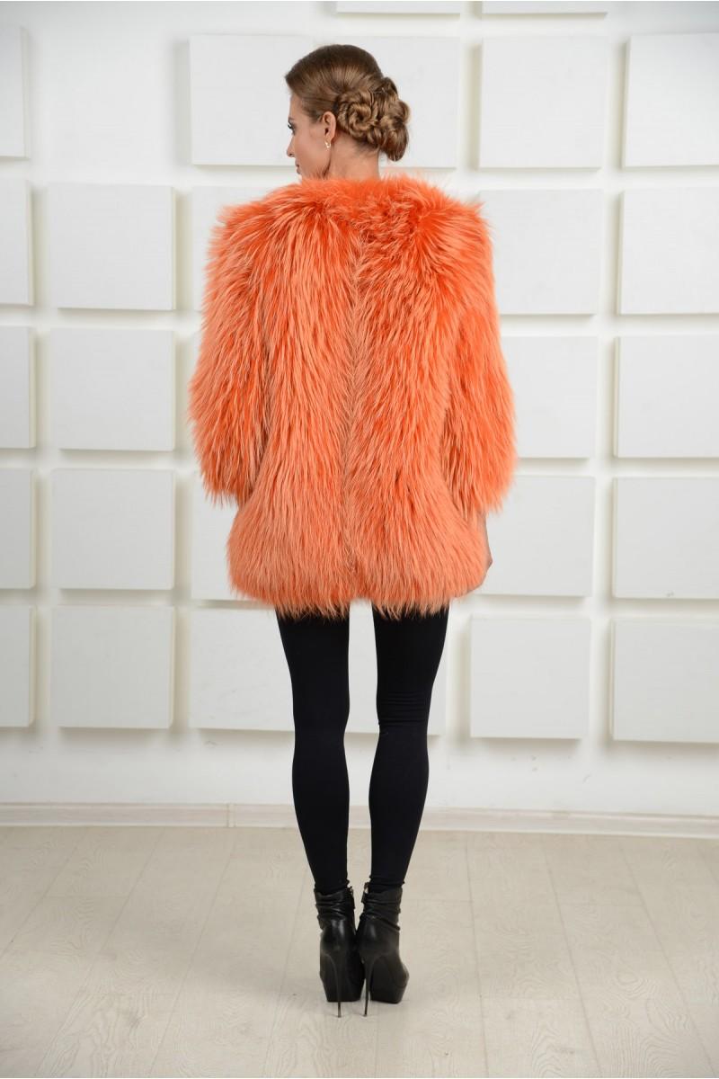 Вязаное пальто из енота