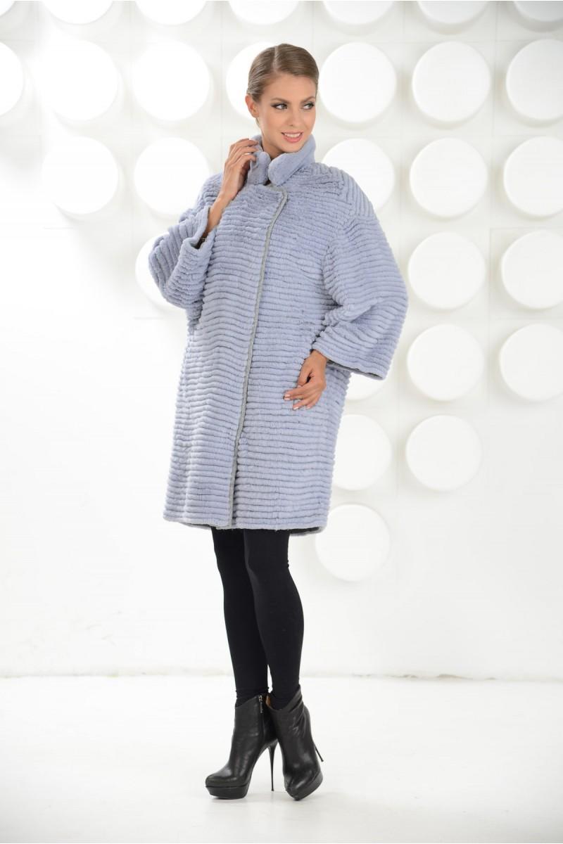 Модная меховое пальто из кролика рекс