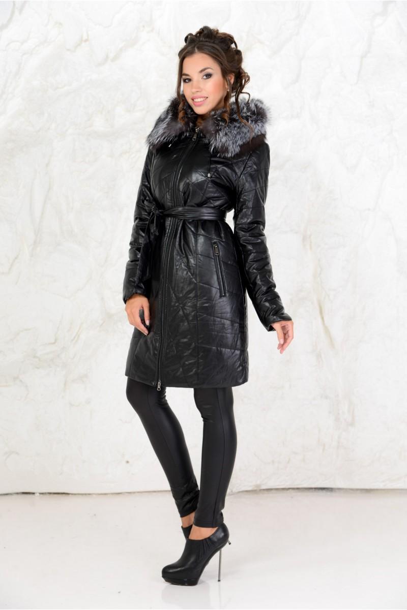Удлинённое чёрное пальто из эко-кожи