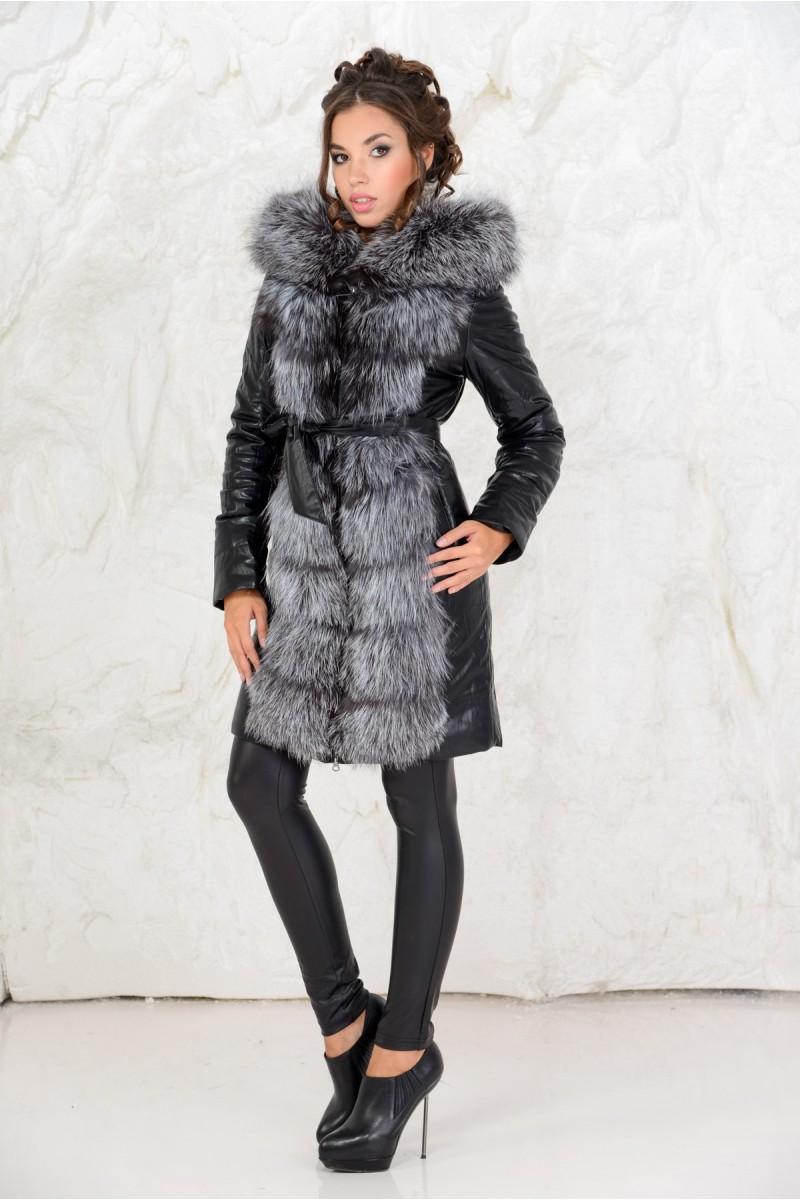 Пальто из эко-кожи комбинированное чернобуркой